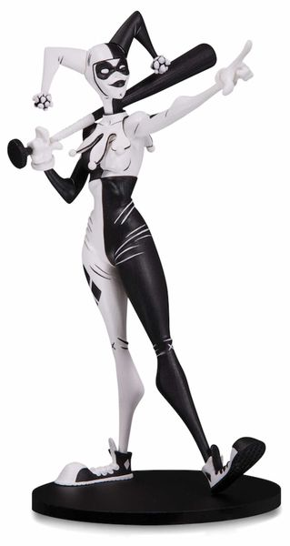 HARLEY QUIN B&W DESIGNER FIG. 17 CM BY HAINANU NOOLIGAN SAULQUE DC ARTISTS ALLEY