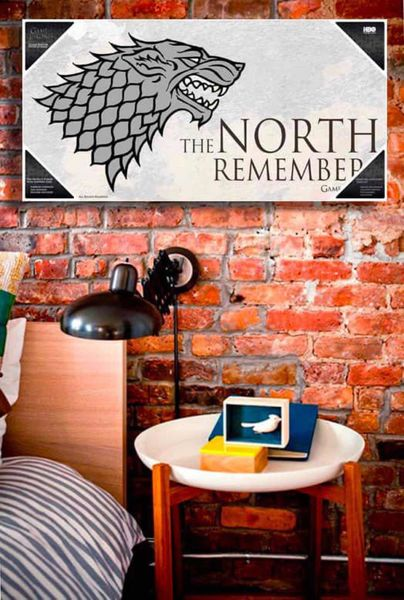 THE NORTH REMEMBERS POSTER DE VIDRIO GAME OF THRONES 60x30 CM