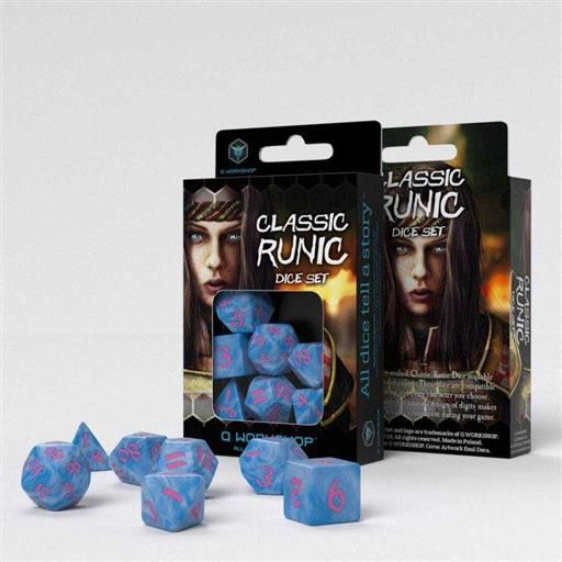 DADOS Q-WORKSHOP SET DE 7 CLASSIC RPG RUNIC GLACIER Y FUCSIA