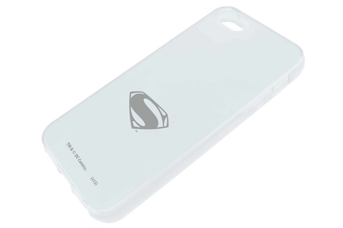 FUNDA SILICONA TPU LOGO SUPERMAN BLANCA IPHONE 5S MAN OF STEEL